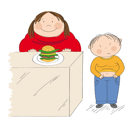 Diabetes awareness. Stop obesity. Fat mother looking forward to eat hamburger. Her son, little boy is standing next to her, holding his belly, looking sick. Illustration