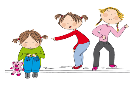 Children (two girls) bullying poor girl, sneering, offending her. The poor kid is sitting on the ground, sobbing. Original hand drawn illustration of aggression towards other child.
