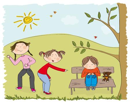 Children bullying poor boy on the park Vector Illustration