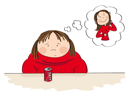 Sad fat woman sitting behind the table with can of coke in front of her, dreaming about a slim figure. Original hand drawn illustration