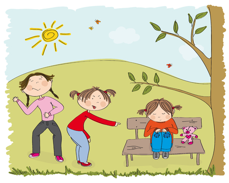 Children (two girls) bullying poor girl, sneering, offending her. The poor kid is sitting on the bench in the park, sobbing. Original hand drawn illustration of aggression towards other child.