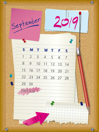 2019 calendar for month September on cork board with notes.