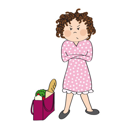 Angry woman standing with her arms crossed, full shopping bag next to her. She is tired of everyday housework. Original hand drawn illustration.