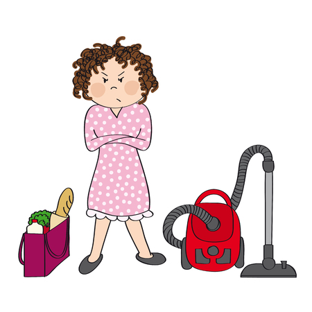 Angry woman standing with her arms crossed, full shopping bag and vacuum cleaner next to her. She is preparing for housework. Original hand drawn illustration.