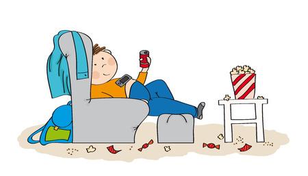 Adolescente pigro seduto in poltrona, guardando la TV, bevendo cola e mangiando popcorn. Il caos è tutto intorno a lui. Illustrazione disegnata a mano originale.