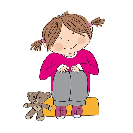 Linda niña feliz sentada en el asiento, sonriendo. Su osito de peluche está a su lado. Ilustración original dibujada a mano. Ilustración de vector