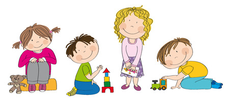Little preschool children building bricks, playing with toys, drawing pictures - original hand drawn illustration