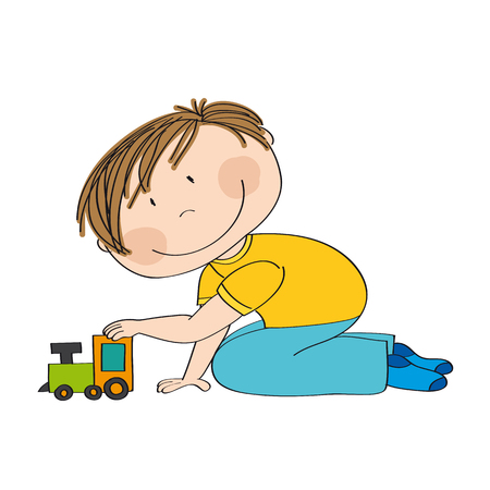 Cute happy little boy is kneeling on the floor and playing with choo choo train - original hand drawn illustration. Vetores