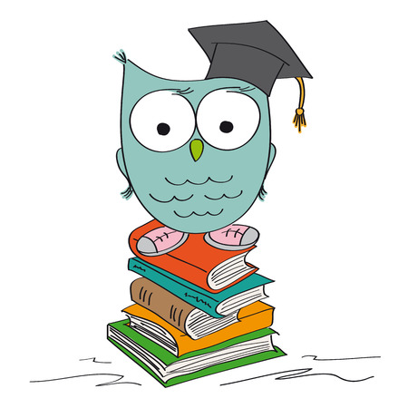 Funny wise owl standing on the pile of books with graduation cap on its hat and shoes on its feet - original hand drawn illustration Иллюстрация