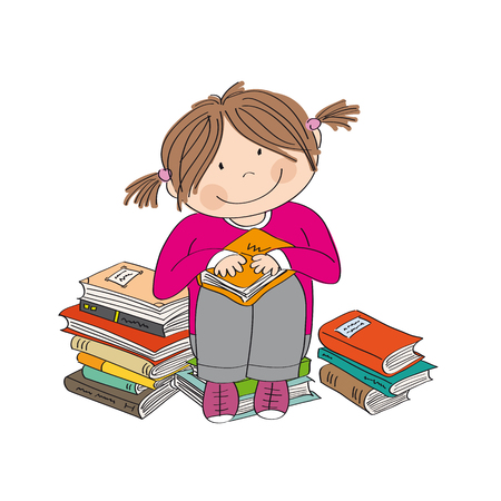 Cute little girl sitting on the pile of books, surrounded of books, enjoying reading - original hand drawn illustration