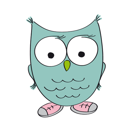 Funny wise owl wearing shoes - original hand drawn illustration Illustration