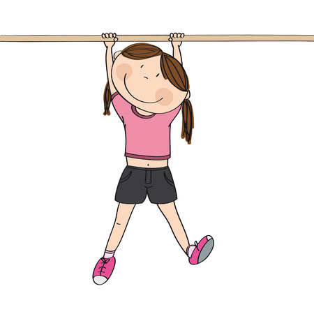 Happy girl hanging on a horizontal bar or a monkey bar in the gym or on the playground - original hand drawn illustration Illustration