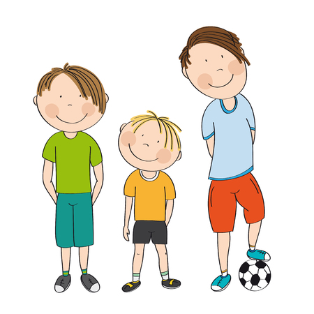 Three boys with ball, ready to play football  soccer - original hand drawn illustration Ilustracja