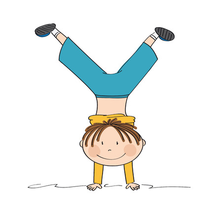 Exercising boy having fun, smiling, doing handstand - original hand drawn illustration Иллюстрация