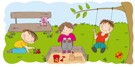Happy preschool children playing outside in the park / garden. One boy is playing with choo choo train, little girl is sitting on the sandpit building sandcastle and second boy is sitting on the swing under the tree. Illustration