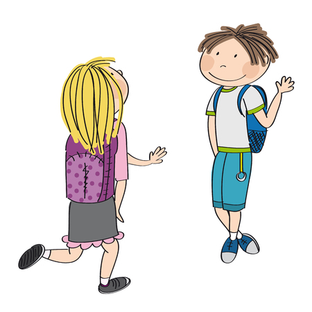 Teenage love. Young schoolboy meeting his schoolmate, blonde girl. They are waving, greeting each other. Original hand drawn illustration. Illustration