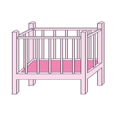 Pink baby cot for girl - original hand drawn illustration