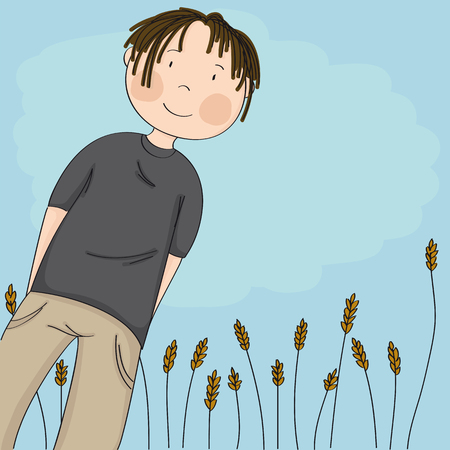 Happy teenage boy looking down at the camera and smiling, blue sky behind him, he is standing in front of the corn field - original hand drawn illustration
