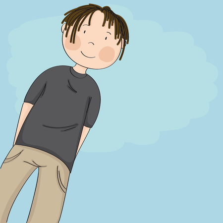 Happy teenage boy looking down at the camera and smiling, blue sky behind him - copy space for your text - original hand drawn illustration Иллюстрация