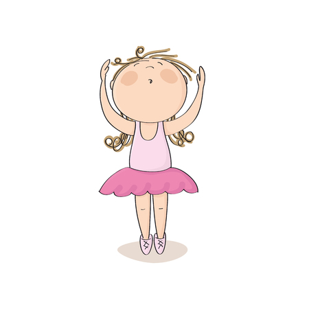 Cute little ballerina girl dancing on her toes with hands up in the air - original hand drawn illustration