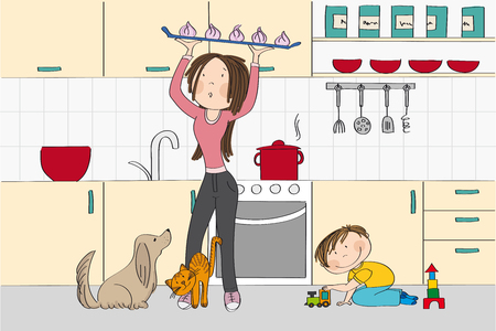 Young and pretty woman (mother) cooking in the kitchen with dog, cat and her child (little boy) standing in her way - original hand drawn illustration