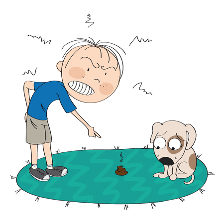 Garçon ou homme en colère contre son chien, pointant son doigt sur le caca sur le tapis, le chiot a l'air désolé pour son mauvais comportement - illustration originale dessinée à la main Vecteurs