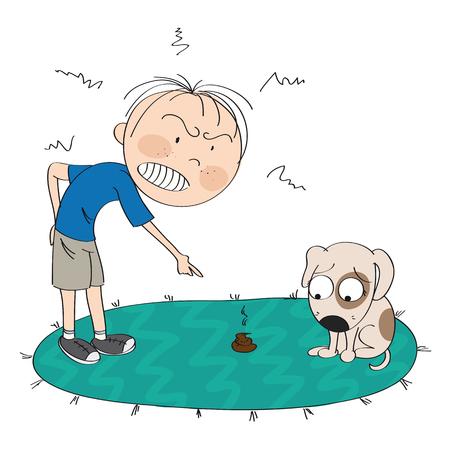 Niño o un hombre enojado con su perro, señalando con el dedo la caca en la alfombra, el cachorro parece disculparse por su mal comportamiento - ilustración original dibujada a mano Ilustración de vector