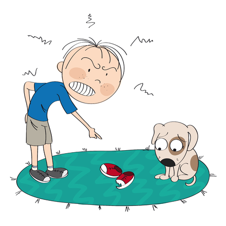 Boy or a man angry with his dog, pointing his finger at torn and chewed shoes, puppy is looking sorry for his bad behavior  - original hand drawn illustration Ilustrace