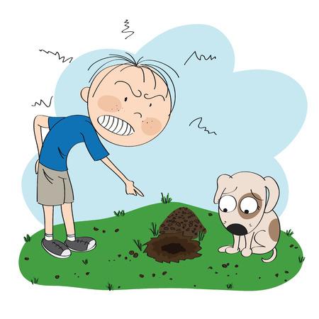 Garçon ou homme en colère contre son chien, pointant son doigt vers le trou creusé dans la pelouse de son jardin, le chiot a l'air désolé pour son mauvais comportement - illustration originale dessinée à la main