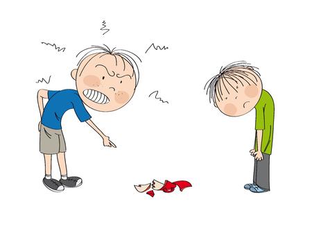 Padre enojado con su hijo, señalando con el dedo una taza rota en el piso, el niño se ve triste, esperando ser castigado - ilustración original dibujada a mano Ilustración de vector