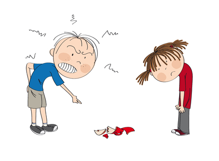 Father angry with his daughter, pointing his finger at broken cup on the floor, girl is looking sad, waiting to be punished  - original hand drawn illustration Illustration