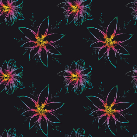 Modern seamless background with colorful hand drawn flower pattern, suitable for printing on textile, fabric, canvas, jersey and other material.