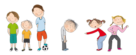 Three boys with ball ready to play football  soccer, two girls bullying sad boy, sneering, offending him. He wants to have friends. Original hand drawn illustration of aggression between children.