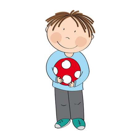 Happy cute little boy with ball - original hand drawn illustration