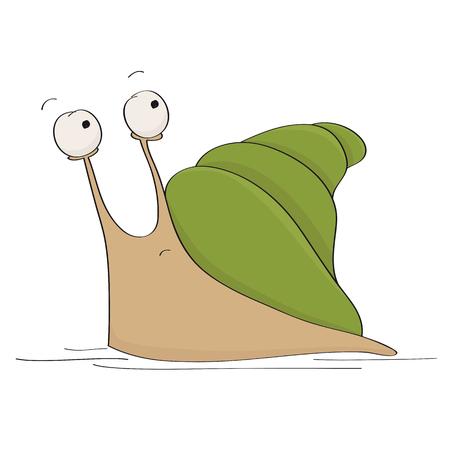 Zabawna ilustracja przestraszonego lub przerażonego słodkiego małego ślimaka zastanawiającego się, czy uciekać, widząc jakieś niebezpieczeństwo, które się za nim kryje - oryginalna ręcznie rysowana ilustracja kreskówka