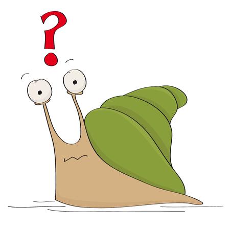 Escargot terne drôle se demandant quoi faire - illustration originale de dessin animé dessiné à la main Vecteurs