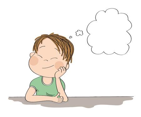 Kleiner süßer Junge, der träumt und sich etwas vorstellt. Original handgezeichnete Illustration mit Kopienraum für Ihren Text.