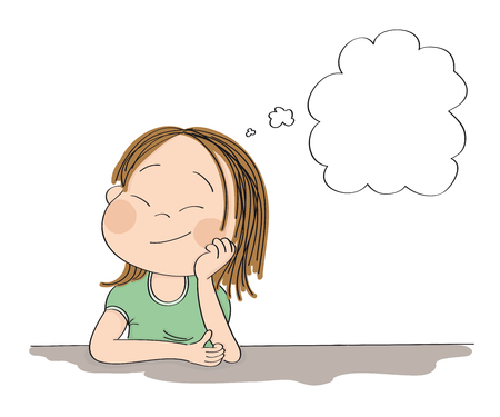 Small cute girl daydreaming, imagining something. Original hand drawn illustration with copy space for your text.