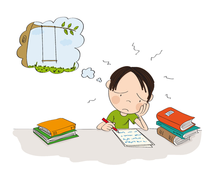Unhappy and tired boy preparing for school exam, writing homework, feeling sad and dreaming about playing outside - original hand drawn illustration
