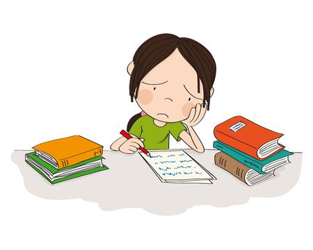 Niña infeliz y cansada que se prepara para el examen escolar, escribe la tarea, se siente triste y aburrida - ilustración original dibujada a mano Ilustración de vector