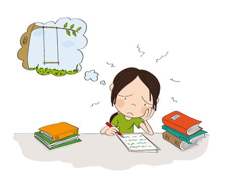 Niña infeliz y cansada preparándose para el examen escolar, escribiendo tarea, sintiéndose triste y soñando con jugar afuera - ilustración original dibujada a mano