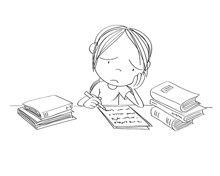 Unhappy and tired girl preparing for school exam, writing homework, feeling sad and bored - original hand drawn illustration