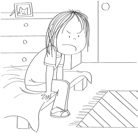 Annoyed and unhappy teenage girl sitting on the bed in her childrens room, thinking about the injustice of her adolescent life. Original hand drawn illustration.