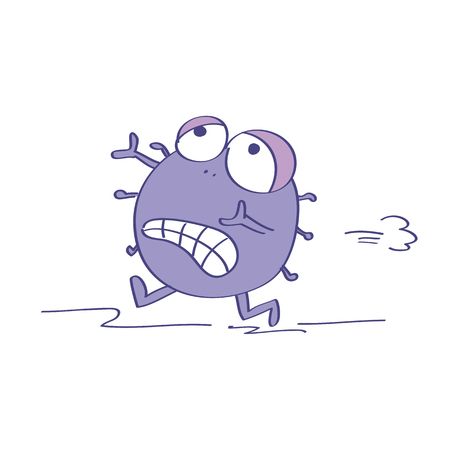 Terrified or scared virus, gem, bacteria or microbe running away. Original funny hand drawn cartoon illustration. Stock Illustratie