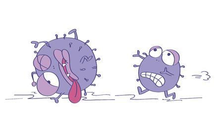 Angst vor Viren, einer ist erschrocken und rennt weg, entkommt vor etwas Gefährlichem, der zweite ist schon verletzt, fast tot. Ursprüngliche lustige gezeichnete Illustration der Karikatur Hand.