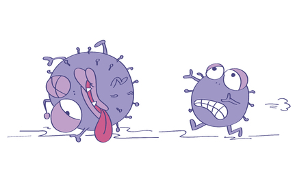 Scared viruses, one is terrified and running away, escaping from something dangerous, the second one is already injured, almost dead. Original funny cartoon hand drawn illustration. 스톡 콘텐츠 - 122030138
