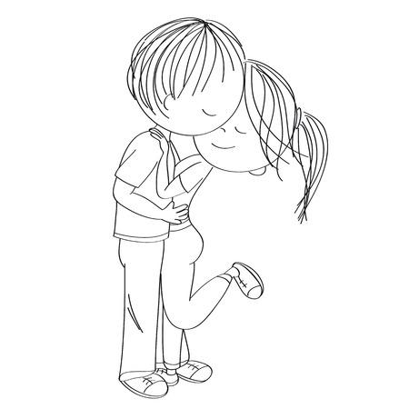 Joven pareja de enamorados de pie, abrazándose y besándose. Ilustración original dibujada a mano.