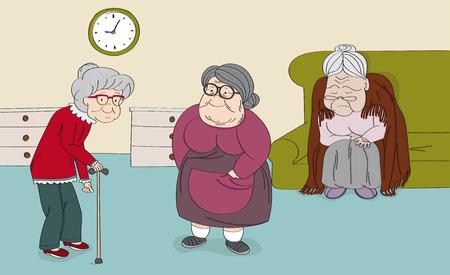 Three senior women, old ladies, cute grandmothers in the senior rest house. Original hand drawn illustration.