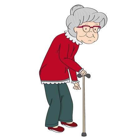 Old grey-haired senior lady, retired woman, granny with walking stick. Original hand drawn illustration.