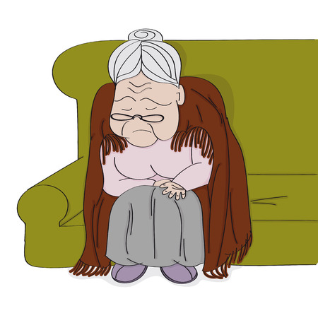 Very old grey-haired senior woman, granny, sitting on the sofa, sleeping and snoring. She has a blanket around her downbent back. Original hand drawn illustration. Иллюстрация